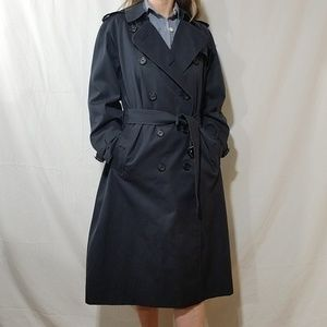 Burberry vintage blue double breast trench coat